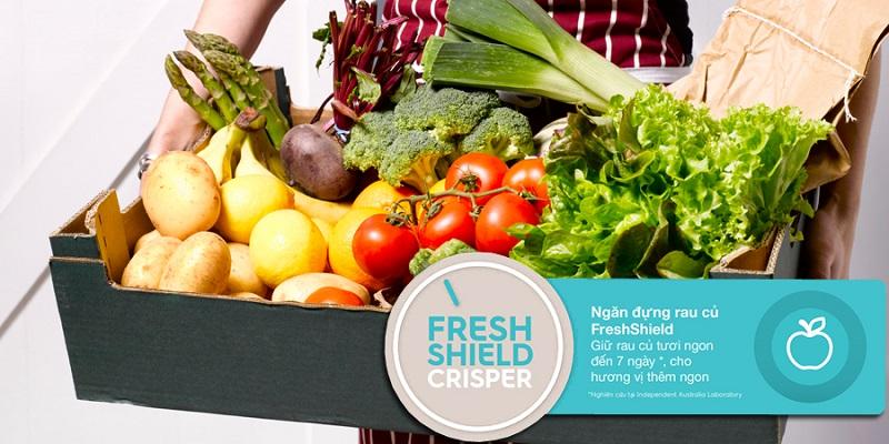 Rau củ tươi tươi ngon, mọng nước lên đến 7 ngày với ngăn chứa Fresh Shield