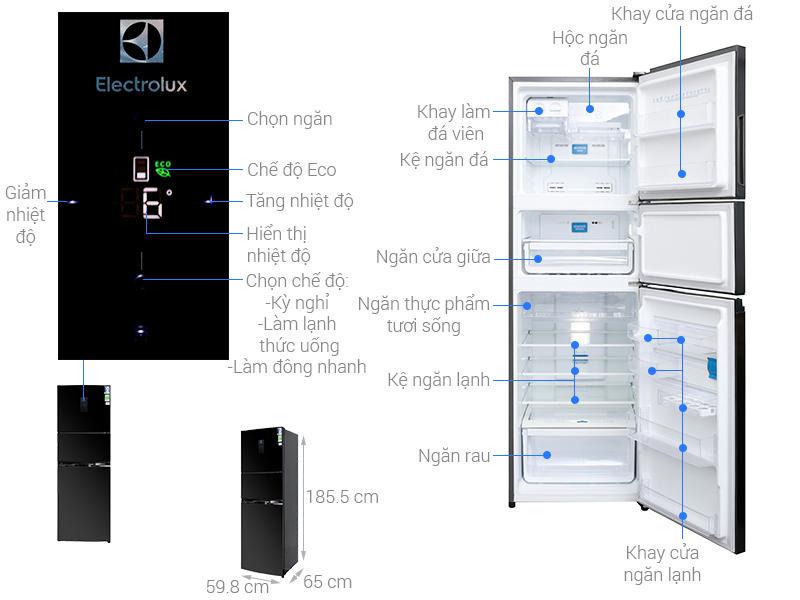 Thông số kỹ thuật Tủ lạnh Electrolux 334 lít EME3500BG