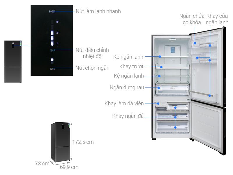 Thông số kỹ thuật Tủ lạnh Electrolux Inverter 418 lít EBE4502BA