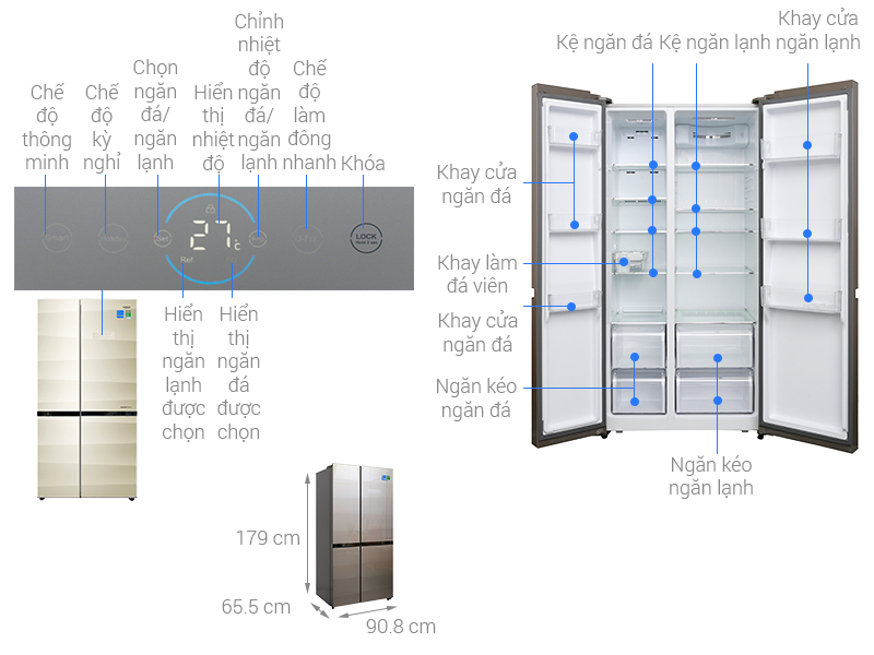 Thông số kỹ thuật Tủ lạnh Aqua Inverter 518 lít AQR-IG585AS SG