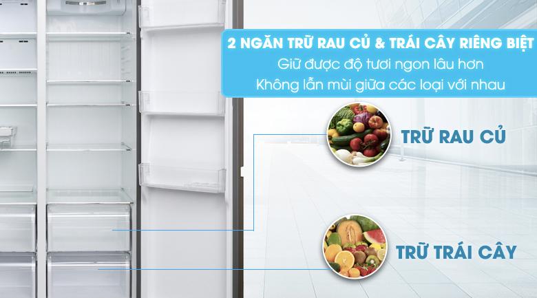 2 ngăn trữ rau & quả - Tủ lạnh Aqua 565 lít AQR-IG585AS SG