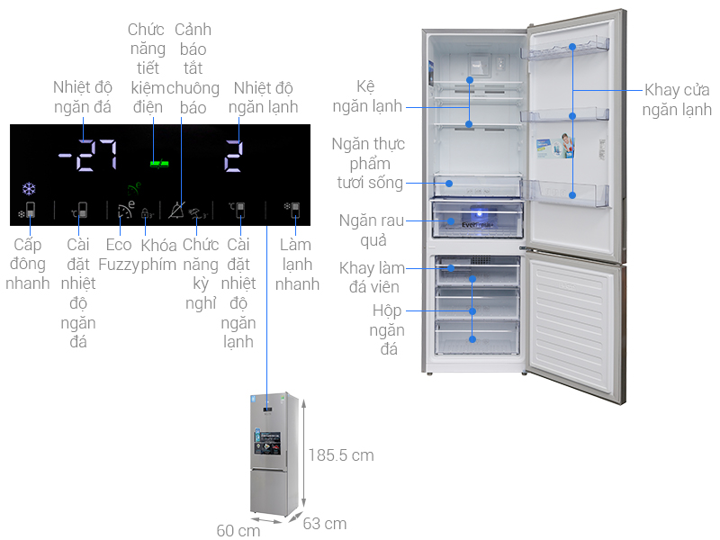 Thông số kỹ thuật Tủ lạnh Beko Inverter 356 lít RCNT375E50VZX