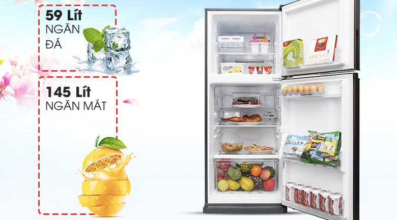 Dung tích sử dụng 206 lít - Tủ lạnh Mitsubishi Electric Inverter 206 lít MR-FV24EM-BR-V