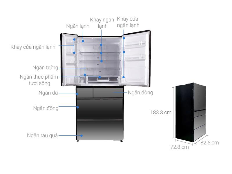 Thông số kỹ thuật Tủ lạnh Hitachi Inverter 525 lít R-X670GV (X)