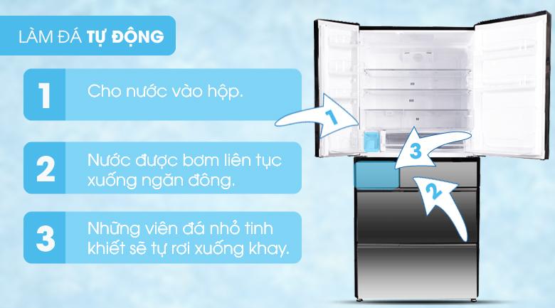 Chức năng làm đá tự động - Tủ lạnh Hitachi Inverter 722 lít R-X670GV (X)