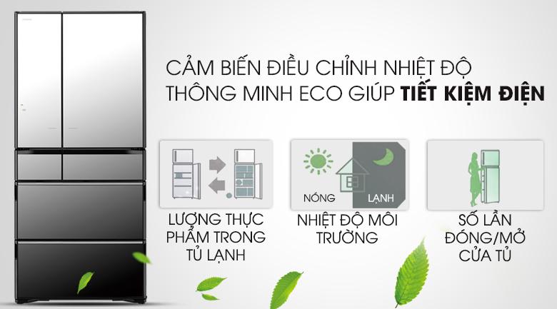 Cảm biến Eco tối ưu hóa năng lượng hiệu quả - Tủ lạnh Hitachi Inverter 722 lít R-X670GV (X)