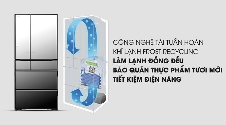 Công nghệ Frost Recycling cho hiệu quả làm lạnh ấn tượng - Tủ lạnh Hitachi Inverter 722 lít R-X670GV (X)
