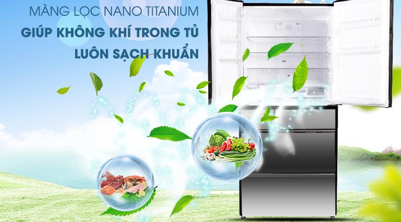 Kháng khuẩn khử mùi với  màng lọc Nano Titanium - Tủ lạnh Hitachi Inverter 722 lít R-X670GV (X)