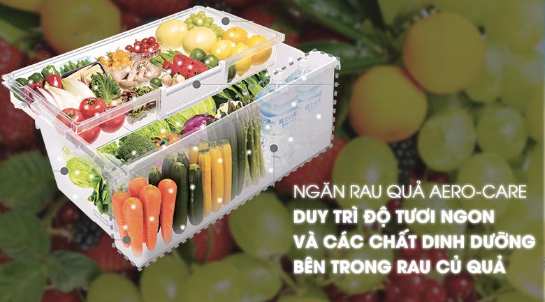 Công nghệ bảo quản rau quả Aero-care giúp rau củ luôn mọng nước - Tủ lạnh Hitachi Inverter 722 lít R-X670GV (X)