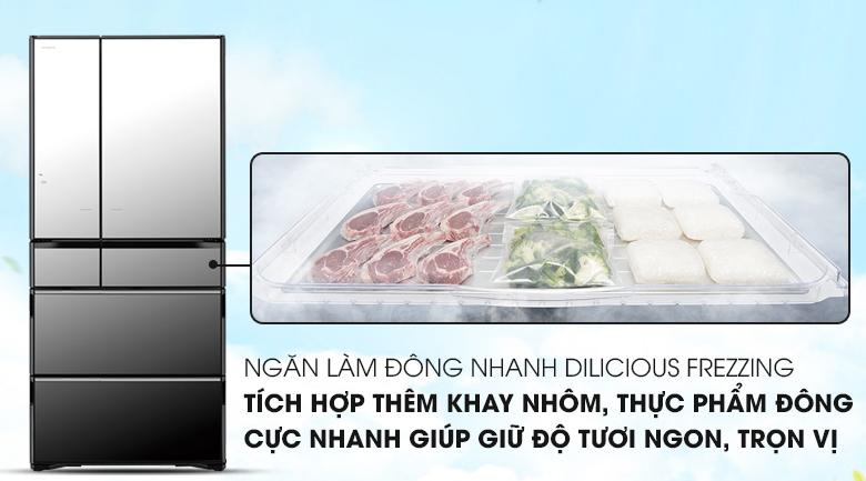Làm đông nhanh chóng với ngăn đông Dilicious Frezzing - Tủ lạnh Hitachi Inverter 722 lít R-X670GV (X)