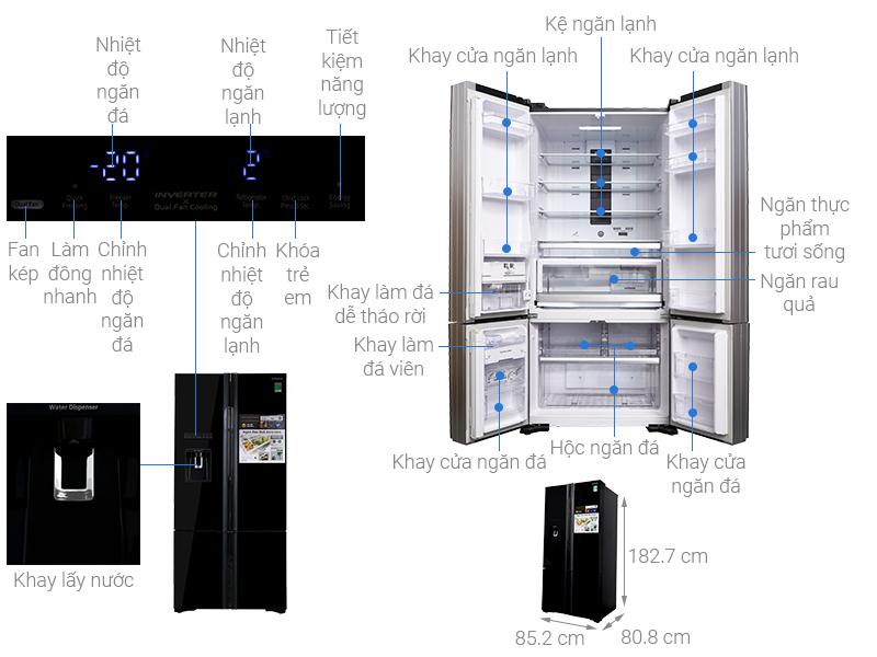 Thông số kỹ thuật Tủ lạnh Hitachi Inverter 587 lít R-WB730PGV6X GBK