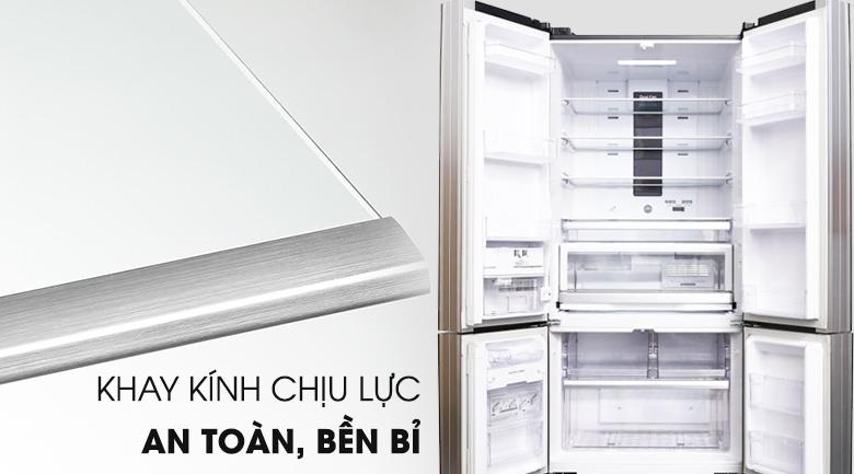 Khay kính chịu lực an toàn chắc chắn - Tủ lạnh Hitachi Inverter 587 lít R-WB730PGV6X GBK