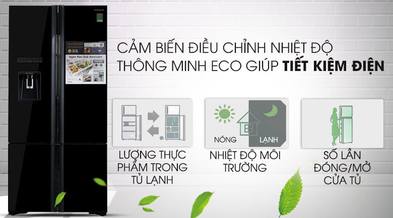 Tiết kiệm điện hơn với cảm biến Eco - Tủ lạnh Hitachi Inverter 587 lít R-WB730PGV6X GBK