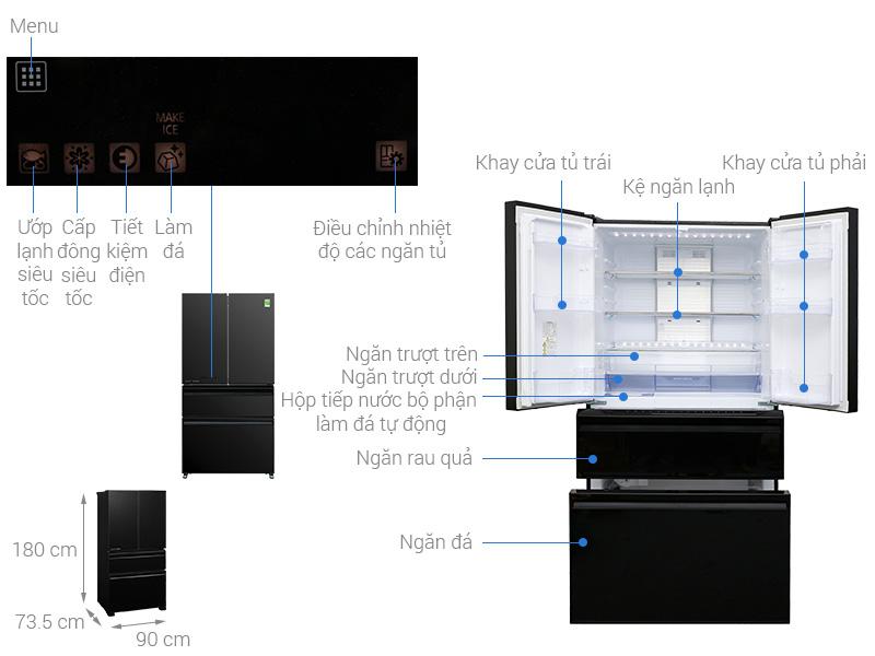 Thông số kỹ thuật Tủ lạnh Mitsubishi Electric 564 lít MR-LX68EM-GBK-V