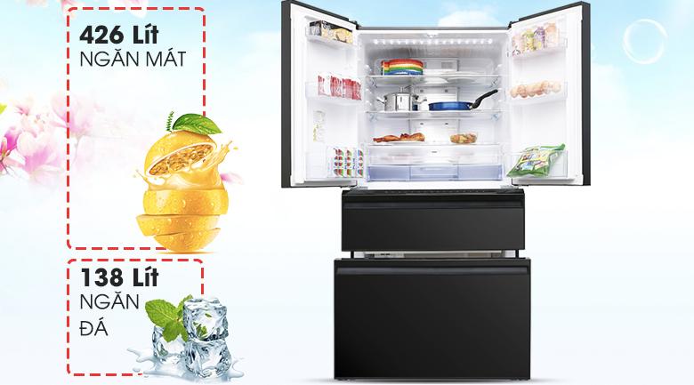 Dung tích 564 lít - Tủ lạnh Mitsubishi Electric Inverter 564 lít MR-LX68EM-GBK-V