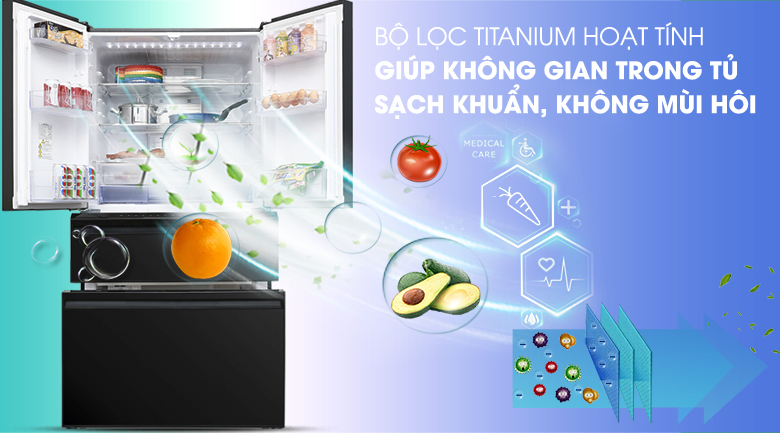 Bộ lọc Titanium hoạt tính - Tủ lạnh Mitsubishi Electric Inverter 564 lít MR-LX68EM-GBK-V