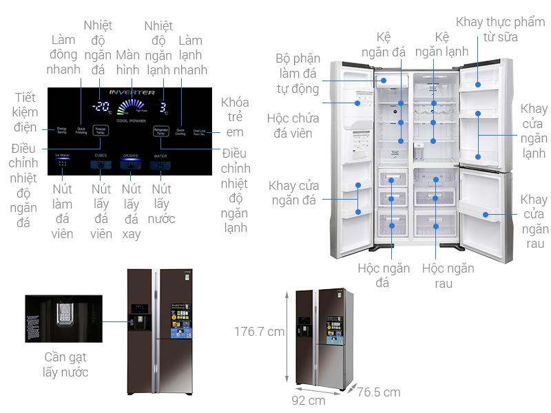 Thông số kỹ thuật Tủ lạnh Hitachi Inverter 584 lít R-M700GPGV2X MBW