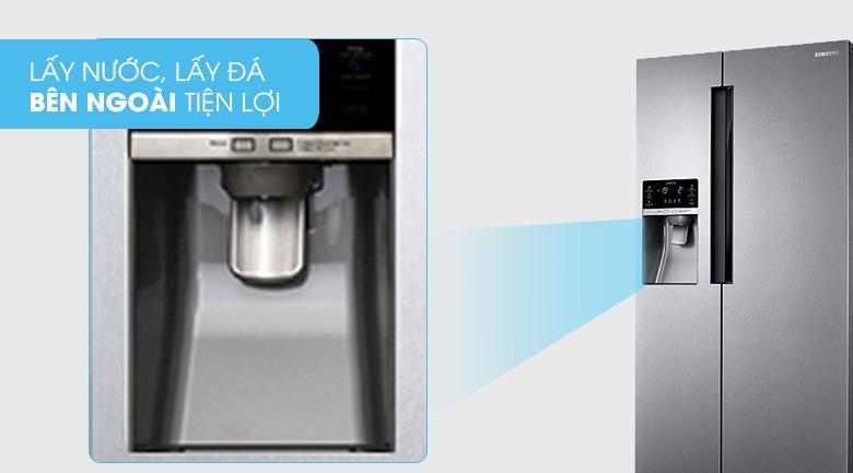 Lấy nước, lấy đá bên ngoài - Tủ lạnh Samsung Inverter 575 lít RS58K6417SL/SV