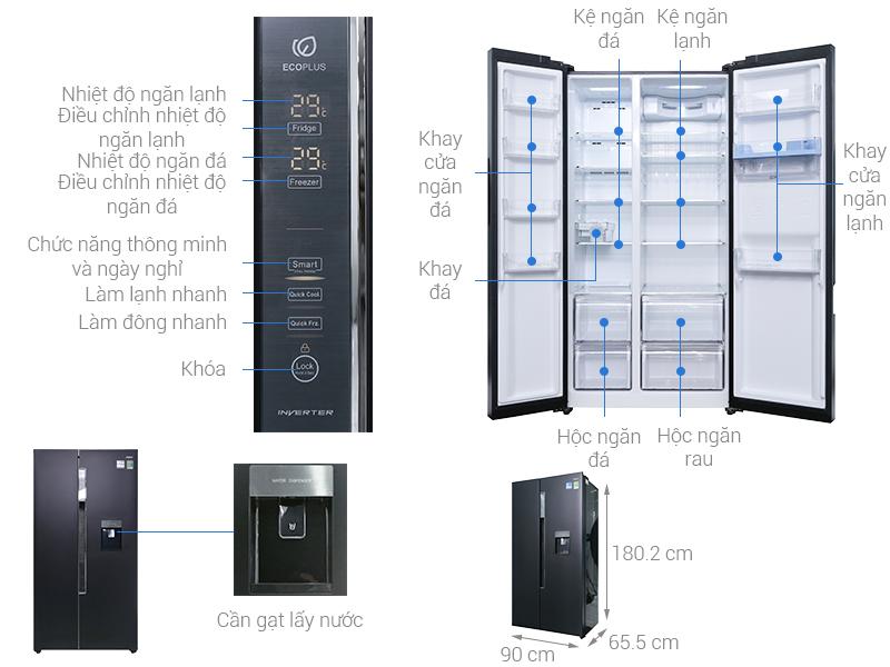 Thông số kỹ thuật Tủ lạnh Aqua Inverter 557 lít AQR-I565AS BS