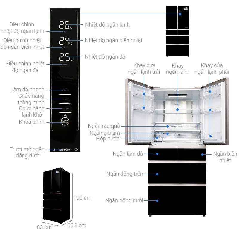 Thông số kỹ thuật Tủ lạnh Aqua Inverter 553 lít AQR-IG686AM GB
