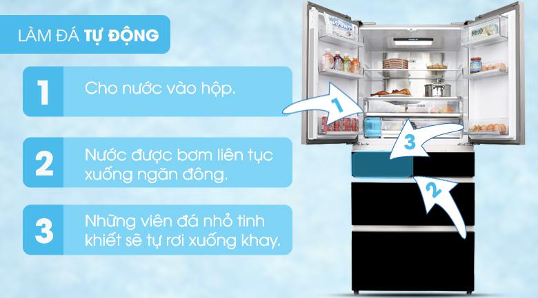 Làm đá tự động - Tủ lạnh Aqua Inverter 553 lít AQR-IG686AM GB