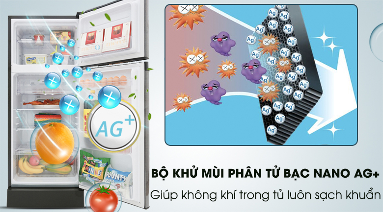 Bộ khử mùi phân tử bạc Nano Ag+ - Tủ lạnh Sharp Inverter 165 lít SJ-X176E-SL