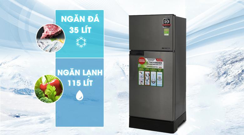 dung tích sử dụng 150 lít  - Tủ lạnh Sharp Inverter 165 lít SJ-X176E-SL