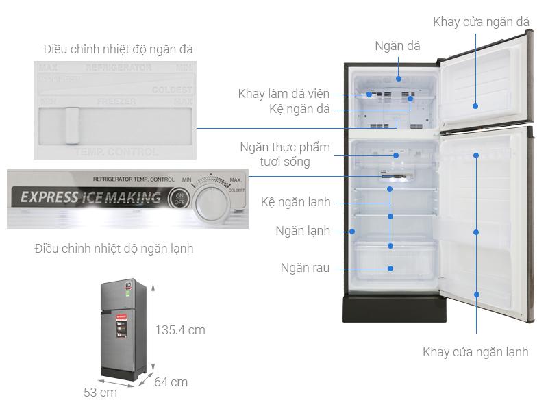Thông số kỹ thuật Tủ lạnh Sharp Inverter 165 lít SJ-X196E-DSS