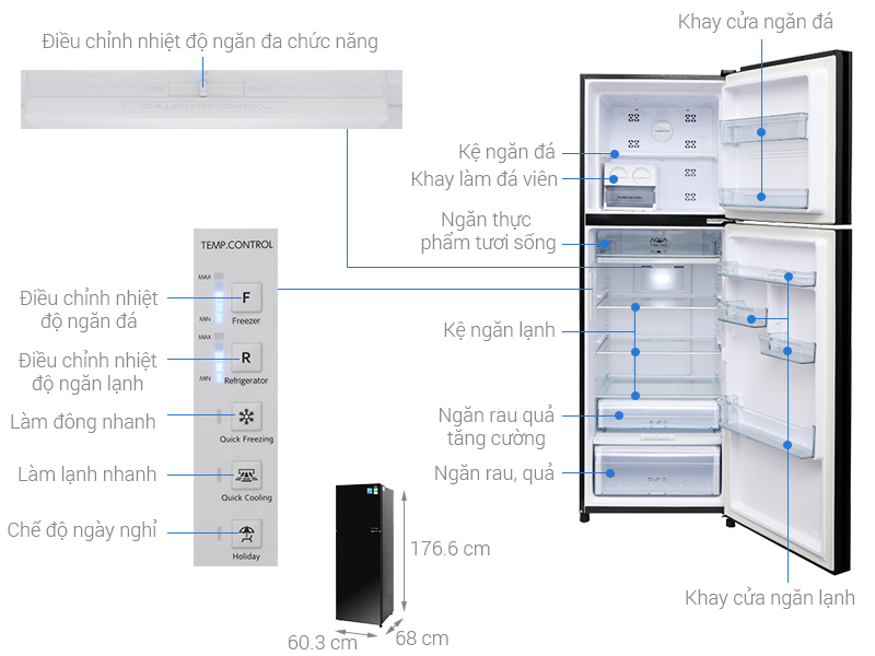 Thông số kỹ thuật Tủ lạnh Aqua Inverter 373 lít AQR-IG386DN GBN