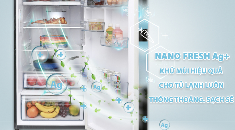 Công nghệ Nano Fresh Ag+ kháng khuẩn, khử mùi hiệu quả - Tủ lạnh Aqua Inverter 373 lít AQR-IG386DN GBN