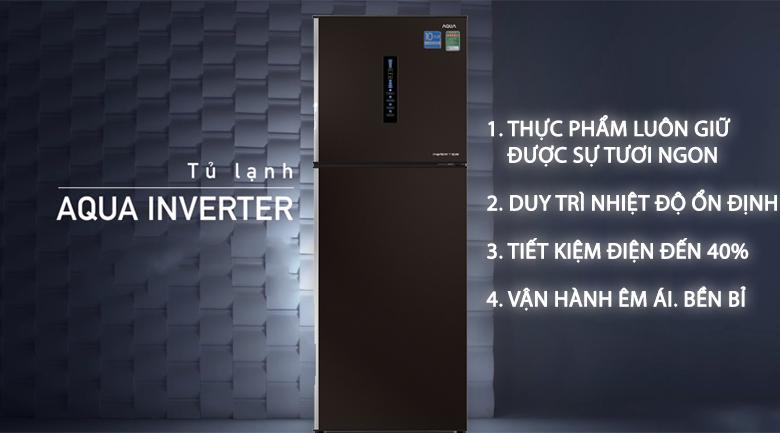 Công nghệ Inverter tiết kiệm điện  - Tủ lạnh Aqua Inverter 345 lít AQR-IU356DN DB