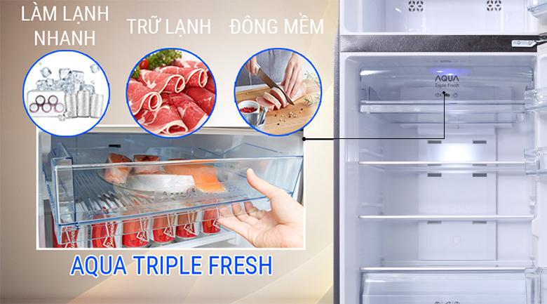 Ngăn chứa Aqua Triple Fresh 3 chức năng tiện lợi - Tủ lạnh Aqua Inverter 345 lít AQR-IU356DN DB
