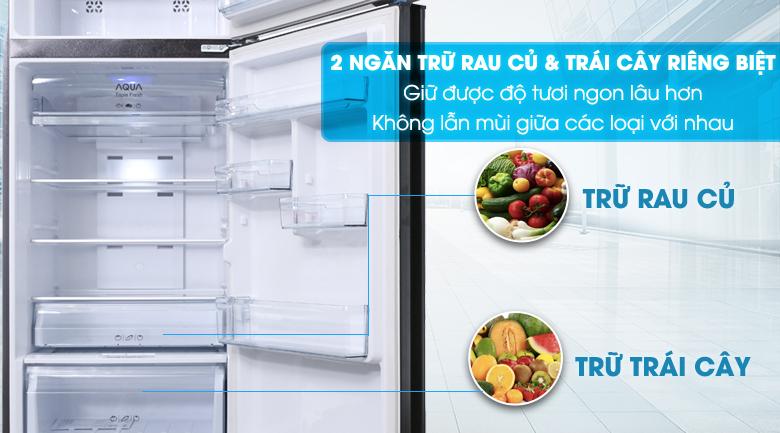 2 ngăn trữ rau củ và ngăn trái cây riêng biệt - Tủ lạnh Aqua Inverter 345 lít AQR-IU356DN DB