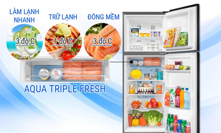 Ngăn lạnh đa chức năng AQUA Triple Fresh phù hợp với mọi nhu cầu sử dụng