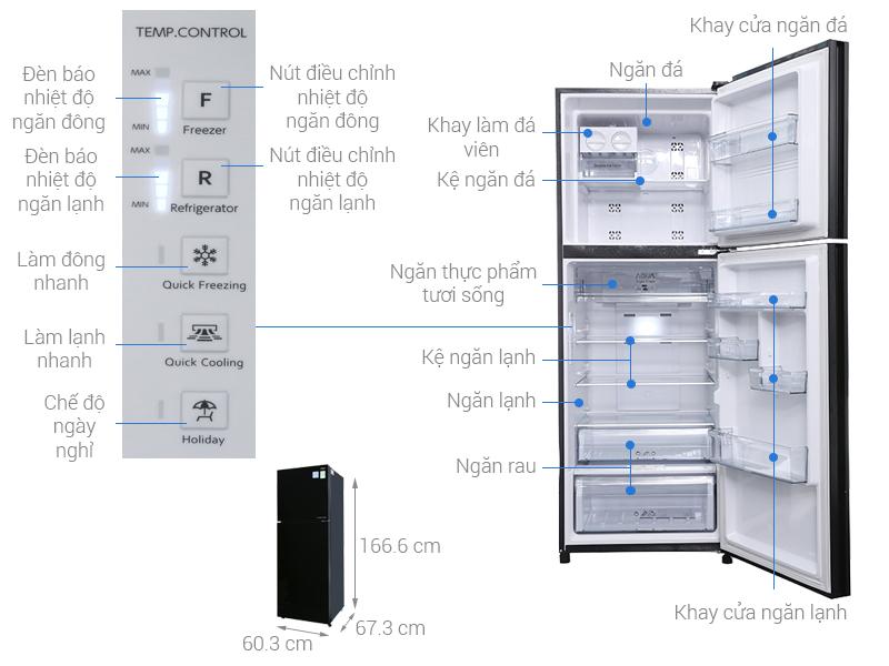 Thông số kỹ thuật Tủ lạnh Aqua Inverter 318 lít AQR-IG356DN GBN