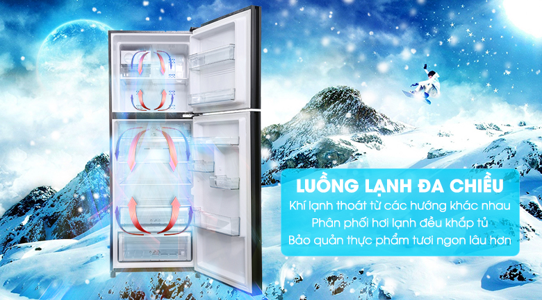 Luồng khí lạnh đa chiều - Tủ lạnh Aqua Inverter 345 lít AQR-IG356DN GBN