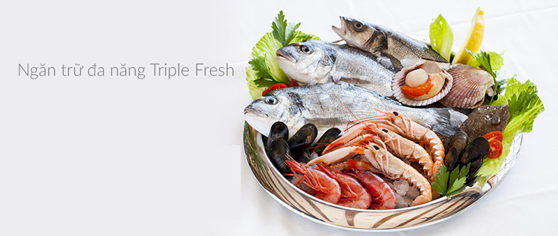 Tiện lợi với ngăn trữ đa chức năng Aqua Triple Fresh