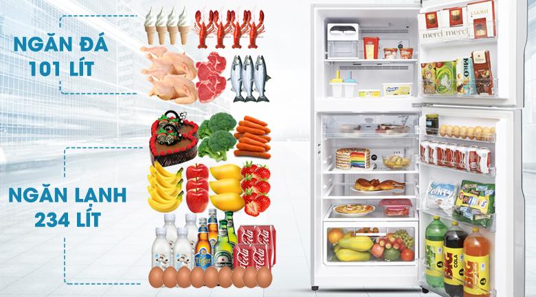 Tủ lạnh Hitachi Inverter 335 lít R-V400PGV3 SLS - Dung tích 335 lít