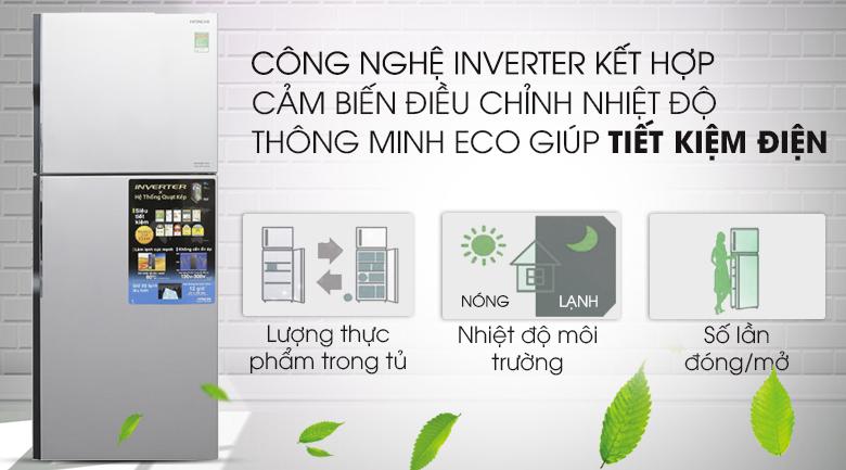 Công nghệ Inverter kết hợp cảm biến nhiệt ECO - Tủ lạnh Hitachi Inverter 335 lít R-V400PGV3 SLS