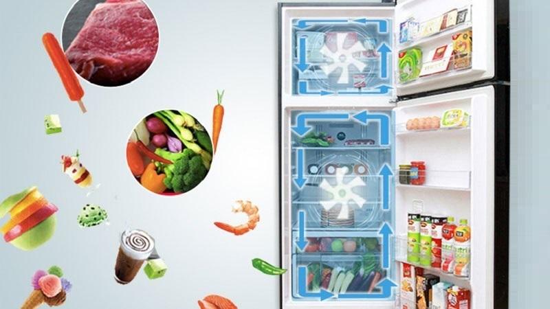 Công nghệ làm lạnh quạt kép mang hơi lạnh tỏa đều và ngăn thực phẩm lẫn mùi vào nhau hiệu quả