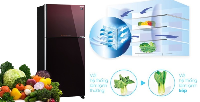 Hệ thống làm lạnh kép Hybrid Cooling giúp thực phẩm được làm lạnh đồng đều