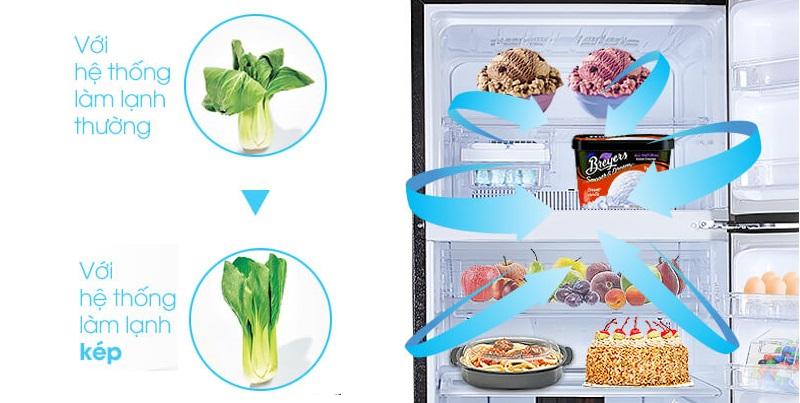Hơi lạnh lan tỏa đồng đều đến mọi vị trí trong tủ với hệ thống làm lạnh kép Hybrid Cooling