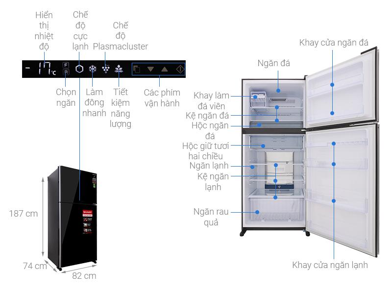 Thông số kỹ thuật Tủ lạnh Sharp Inverter 613 lít SJ-XP595PG-BK