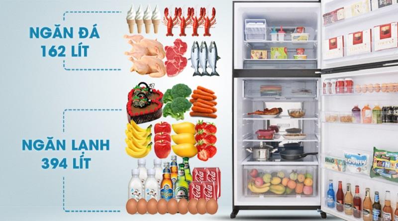 Thoải mái bảo quản thực phẩm với tổng dung tích 613 lít - Tủ lạnh Sharp Inverter 613 lít SJ-XP595PG-BK