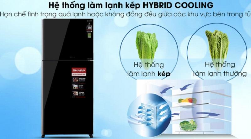 Hệ thống làm lạnh kép Hybrid Cooling - Tủ lạnh Sharp Inverter 613 lít SJ-XP595PG-BK
