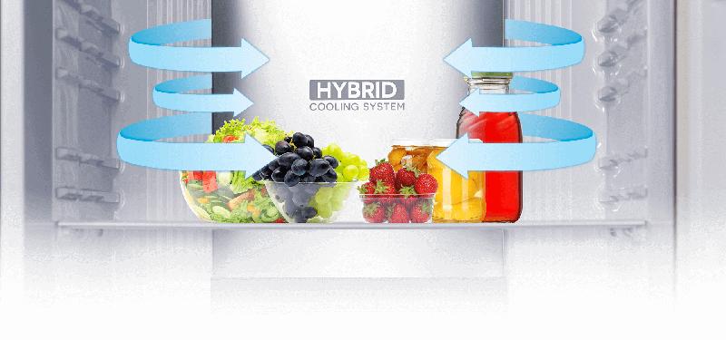 Bảo quản thực phẩm tươi mới lâu hơn với hệ thống làm lạnh kép Hybrid Cooling