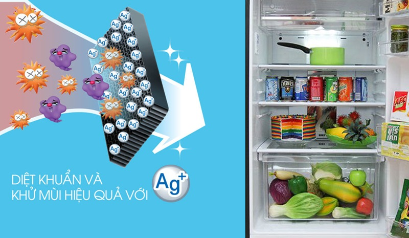 Ngăn chặn vi khuẩn gây mùi hôi khó chịu phát sinh bên trong tủ lạnh với bộ khử mùi phân tử bạc Nano Ag+