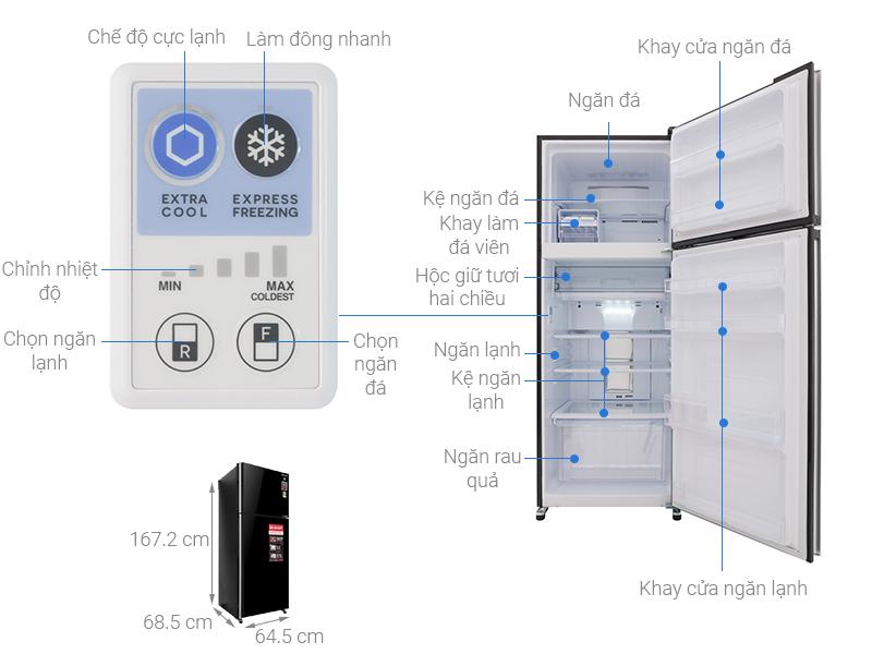Thông số kỹ thuật Tủ lạnh Sharp Inverter 364 lít SJ-XP405PG-BK