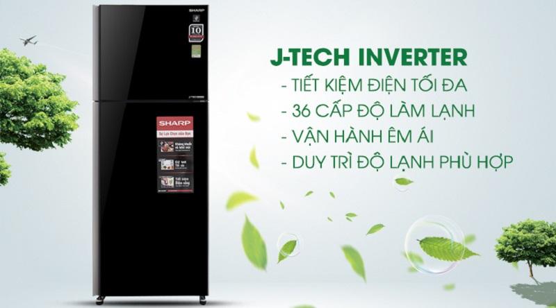 Công nghệ J-Tech Inverter vận hành êm ái, tiết kiệm điện - Tủ lạnh Sharp Inverter 364 lít SJ-XP405PG-BK