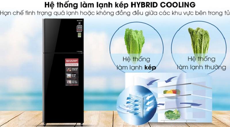 Hệ thống làm lạnh kép Hybrid Cooling - Tủ lạnh Sharp Inverter 364 lít SJ-XP405PG-BK